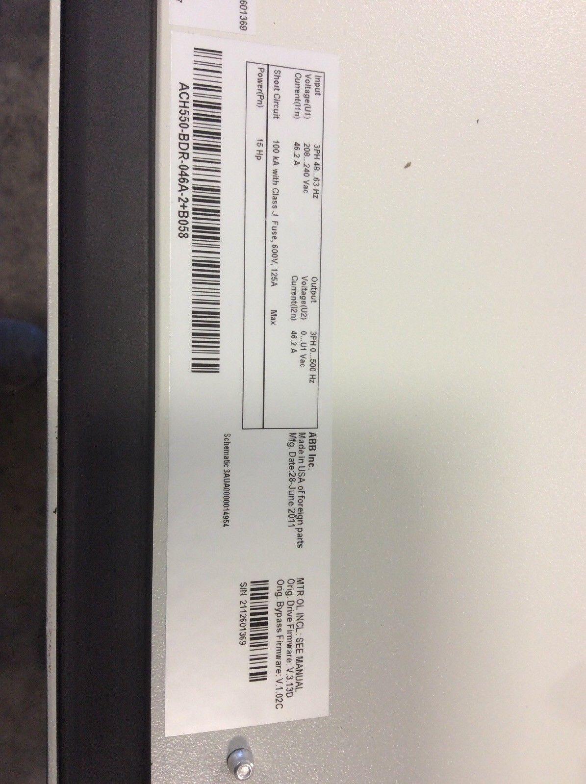 ABB ACH550-BDR-046A-2+B058 Variable Frequency Drive 7 5 HP HVAC 208/240 Volt